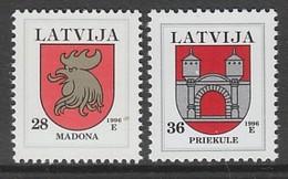 PAIRE NEUVE DE LETTONIE - ARMOIRIES DE REGIONS : MADONA ET PRIKULE N° Y&T 400/401 - Stamps