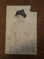 Illustrateur Raphael Kirchner - Vienne - Art Nouveau - Femme - Carte Abimée - Kirchner, Raphael