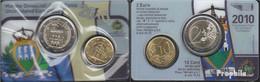 San Marino 2010 Stgl./unzirkuliert Amtlicher Mini Kursmünzensatz 2010 Euro-Folder 10 Cent + 2 Euro - San Marino