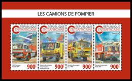CENTRAL AFRICA 2018 **MNH Fire Engines Feuerwehr Fahrzeuge Camions De Pompier M/S - OFFICIAL ISSUE - DH1847 - Sapeurs-Pompiers