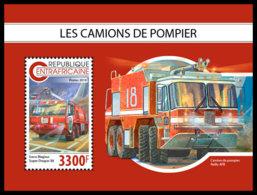 CENTRAL AFRICA 2018 **MNH Fire Engines Feuerwehr Fahrzeuge Camions De Pompier S/S - OFFICIAL ISSUE - DH1847 - Sapeurs-Pompiers