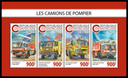 CENTRAL AFRICA 2018 **MNH Fire Engines Feuerwehr Fahrzeuge Camions De Pompier M/S - IMPERFORATED - DH1847 - Sapeurs-Pompiers