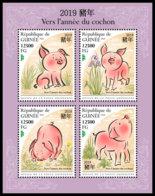 GUINEA REP. 2018 **MNH Year Of The Pig Jahr Des Schweins Annee Du Cochon M/S - OFFICIAL ISSUE - DH1847 - Chines. Neujahr
