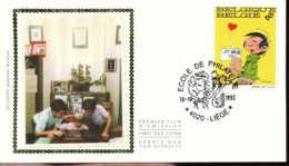 "[67131]N° 2484 - FDC - Gaston Lagaffe, Art, Bande Dessinée, Obl Mademoiselle Jeanne - ""4020-LIEGE"", Soie, SNC - FDC"
