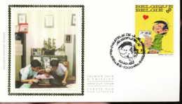 "[67138]N° 2484 - FDC - Gaston Lagaffe, Art, Bande Dessinée - ""BRUXELLES-1000-BRUSSEL"", Soie, SNC - FDC"
