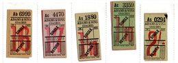 BUS / TRAM TICKETS - ADAMS & SONS COACHES - 5PZ - T684 - Biglietti Di Trasporto