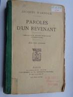 Réf: 69-16-502.               PAROLES D'UN REVENANT. - Livres
