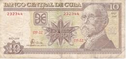 BILLETE DE CUBA DE 10 PESOS DEL AÑO 2008  (BANKNOTE)  MAXIMO GOMEZ - Cuba