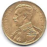 ALBERT I 20 Frs OR 1914 - 1909-1934: Albert I