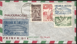 J) 1950 MEXICO, INAUGURATION OF THE SOUTHEAST RAILROAD, MAP, BRIDGE, MULTIPLE STAMPS, FDC - Mexico