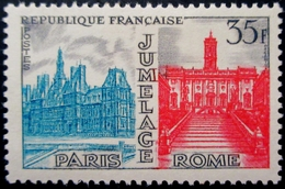 1958 France Yt:FR 1176, Mi:FR 1212 . Twinning Paris- Rome .  Variété Foncé . Neuf Charnière TBE - France