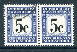 South Africa 1961-69 Postage Dues - 1st Wmk. - 5c Blue And Black Pair Used (SG D56) - Postage Due