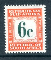 South Africa 1961-69 Postage Dues - 1st Wmk. - 6c Red-orange MNH (SG D57) - Postage Due