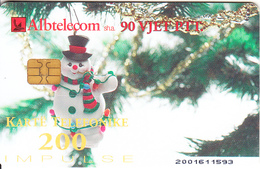 ALBANIA - Christmas 2002, Albtelecom Telecard 200 Units, Tirage 90000, 11/02, Used - Albanie