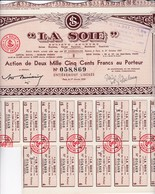 Th3LOT (11 Titres) : LA SOIE : Action De 2500 Frs1950  (37) - Actions & Titres