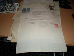 Jimbolia Certificat De Moralitate Romania 1 Lei Stamps  50 Bani Stamps 1926 - Historical Documents