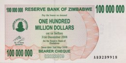 Zimbabwe 100 Million Dollars, P-58 (2.5.2008) - UNC - Zimbabwe