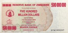 Zimbabwe 500 Million Dollars, P-60 (2.5.2008) - UNC - Zimbabwe