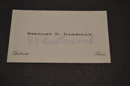 Carte De Stewart S Garrigan Cie Transatlantique Détroit Paris  1930 - Visiting Cards