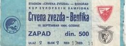FK Crvena Zvezda Beograd Red Star Belgrade FC SL Benfica Lisboa Portugal 19.sep 1984. Ticket Fc Football Match - Tickets D'entrée