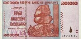 Zimbabwe 5 Billion Dollars, P-84 (2008) - UNC - Zimbabwe