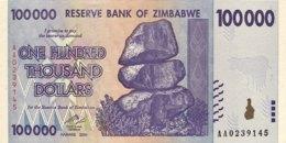 Zimbabwe 100.000 Dollars, P-75 (2008) - UNC - Zimbabwe