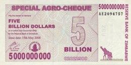 Zimbabwe 5 Billion Dollars, P-61 (15.5.2008) - UNC - Zimbabwe