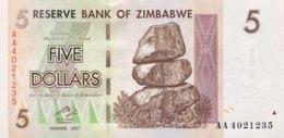 Zimbabwe 5 Dollars, P-66 (2007) - UNC - Zimbabwe