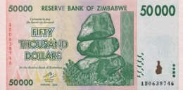 Zimbabwe 50.000 Dollars, P-74 (2008) - UNC - Zimbabwe