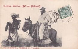 """COLONIA ERITREA(AFRICA ITALIANA). UN """"SIGNORE"""" ABISSINO IN VIAGGIO. SOCIETA EDITICE. CIRCULEE 1910 A FRANCE-RARE-BLEUP - Eritrea"""
