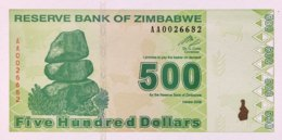 Zimbabwe 500 Dollars, P-98 (2009) - UNC - Zimbabwe
