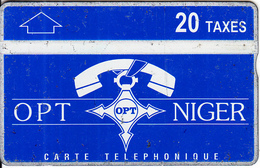 NIGER - Blue & White, OPT Niger Logo, Third Issue 20 Taxes, CN : 612L, Tirage 5000, Used - Niger