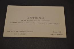 """Carte De Antoine De La Maison Jules & étienne Gérant Des Salons De Coiffures SS """"champlain """" Cie Transatlantique 1930 - Visiting Cards"""