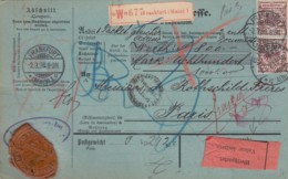 Deutsches Reich Paketkarte 1898 PERFIN - Lettres & Documents
