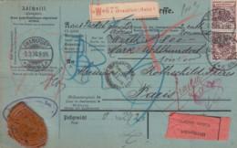 Deutsches Reich Paketkarte 1898 PERFIN - Covers & Documents