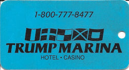 Trump Marina Hotel Casino - Atlantic City, NJ USA - Blue Key Chain Dangle (blank Reverse) - Cartes De Casino