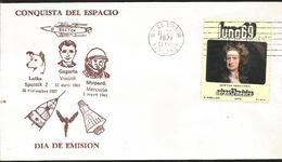 J) 1971 MEXICO, MOON, CONQUEST OF SPACE, LAIKA SPUTNIK, GAGARIN VOSTOK SHEPARD MERCURIO, ISAAC NEWTON, FDC - Mexique