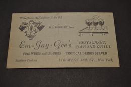 Carte Em.Jay.Gee's Resto Bar Grill New York 1920/1930 - Cartes De Visite
