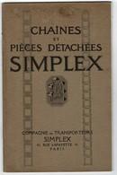 """1928 Catalogue SIMPLEX """"Chaînes Et Pièces Détachées"""" Pour Elévateurs, Transporteurs, Transmissions. 48 Pages 15,50/24 Cm - Vieux Papiers"""