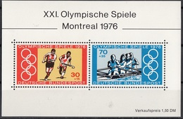 Germania 1976 Sc. B532 Olimpiadi Montreal Canadà MNH Sheet Perf. Hockey Rowing, Coxed Four..Germany - Hockey (su Erba)