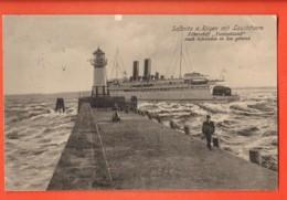 LOM-26 Sassnitz A. Rügen Mit Leuchtturm.  Fährschiff  Deutschland Nach Schweden In See Gehend. Belebt. Gelaufen 1913 - Ferries