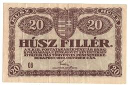 Hungary 20 Filler 02/10/1920 - Hongrie
