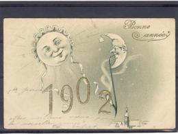 Gaufrée - Relief - Embossed - Prage - Ange - Lune - Moon - Mond - Coupure En Haut - Précurseur - Angels