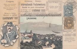 Lausanne Switzerland View, Postal Carrier Stamp Theme Images, C1900s Vintage Postcard - Postal Services