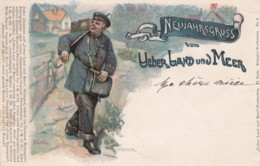 New Year Greetings From UeberLand Und Meer, Postal Carrier Mail Theme, C1890s Vintage Postcard - Postal Services