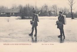 Gruss Aus Dem Spreewald Postal Carrier On Frozen River, Ice Skating, Mail Theme, C1900s Vintage Postcard - Postal Services