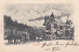 Gebirgspost Mountain Coach In Switzerland, Ambulant No. 26 Postmark Sent To Herisau, C1900s Vintage Postcard - Postal Services