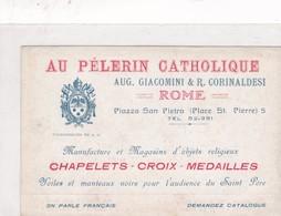 MANOFACTURE ET MAGACIN D'OBJETS RELIGIEUX CHAPELETS CROIX MEDAILLES AU PELERIN CATHOLIQUE, ROME. ADVERTISING. -BLEUP - Reclame