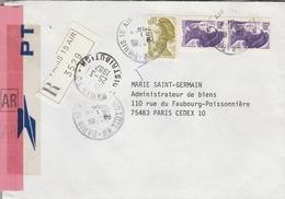 LSC Recommandé 1987 - Cachet PARIS 15  AIR - YT 2241 Et 2276 - Marcofilia (sobres)