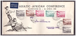 Indonesia 1955 FDC Asiatic-African Conference Opend At Right - Indonesia
